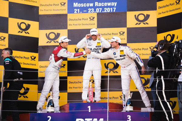 2017 DTM Round 5 Moscow Raceway, Moscow, Russia Sunday 23 July 2017. Podium: Race winner Maro Engel, Mercedes-AMG Team HWA, Mercedes-AMG C63 DTM, second place Mattias Ekström, Audi Sport Team Abt Sportsline, Audi A5 DTM, third place Bruno Spengler, BMW Team RBM, BMW M4 DTM World Copyright: Evgeniy Safronov/LAT Images ref: Digital Image SafronovEvgeniy_2017_DTM_MRW_San-190