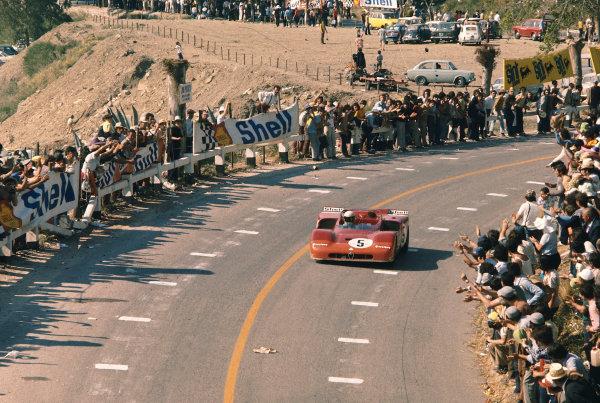 1971 Targa Florio. Little Madonie Circuit, Sicily, Italy. 16th May 1971. Rd 7. Nino Vaccarella/Toine Hezemans (Alfa Romeo T33/3), 1st position, action. World Copyright: LAT Photographic.