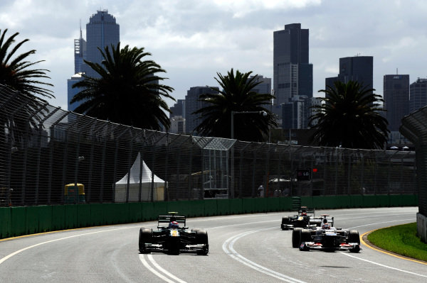 Heikki Kovalainen (FIN) Caterham CT01 and Kamui Kobayashi (JPN) Sauber C31. Formula One World Championship, Rd1, Australian Grand Prix, Qualifying, Albert Park, Melbourne, Australia, Saturday 17 March 2012. BEST IMAGE