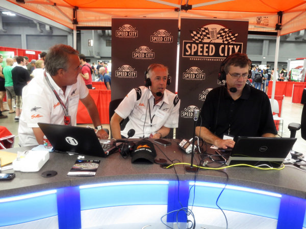 Keith Sutton (GBR), centre, and Mark Sutton (GBR), left, are interviewed on Speed City Broadcasting. Formula One Expo, Austin, Texas, 15-17 June 2012.