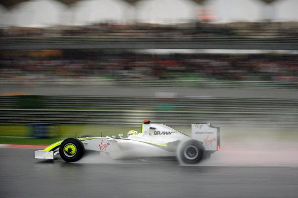 Sepang, Kuala Lumpur, Malaysia 5th April 2009 Jenson Button, Brawn GP BGP001 Mercedes, 1st position. Action.  World Copyright: Steve Etherington/LAT Photographic ref: Digital Image MAL_4020
