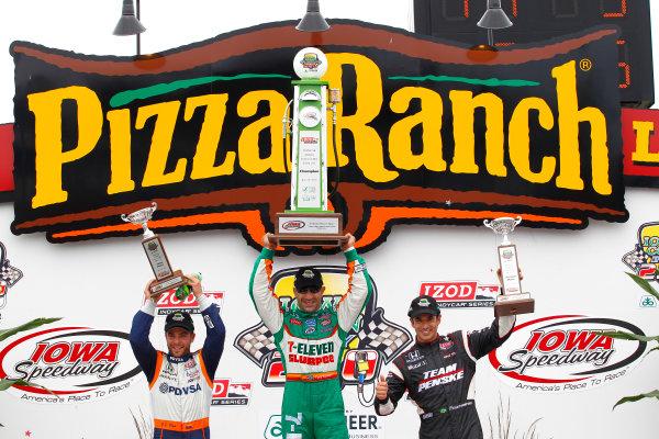 19-20, June 2010, Newton, Iowa, USATony Kanaan celebrates with iHelio Castroneves and E J. Viso in victory lane.©2010, Phillip Abbott, USALAT Photographic