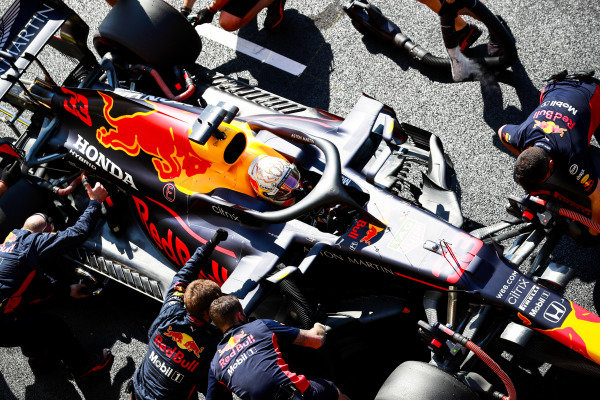 Max Verstappen, Red Bull Racing RB16, in the pit lane during Qualifying
