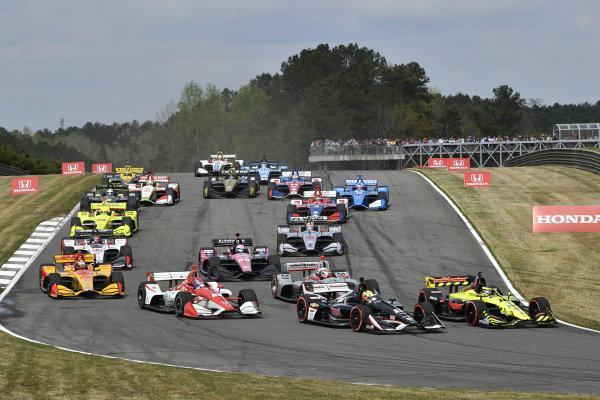 Sebastien Bourdais, Dale Coyne Racing with Vasser-Sullivan Honda, Spencer Pigot, Ed Carpenter Racing Chevrolet, Colton Herta, Harding Steinbrenner Racing Honda, start