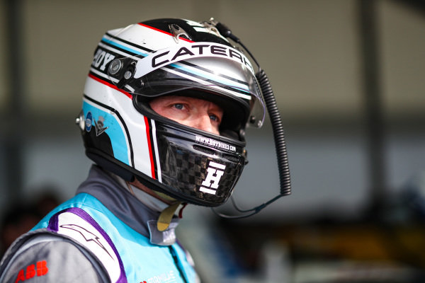 Olympic gold medalist Sir Chris Hoy, prepares to drive the Formula E track car