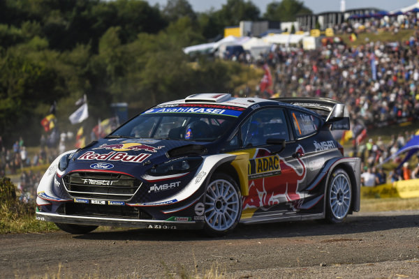 Sebastien Ogier in action in the Panzerplatte arena on Rallye Deutschland
