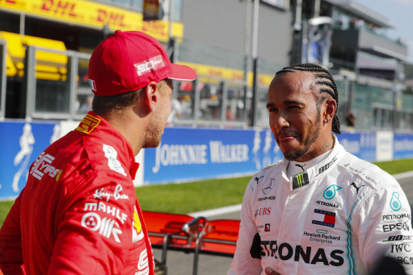 Lewis Hamilton, Mercedes AMG F1, and Sebastian Vettel, Ferrari, after qualifying