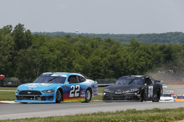 #22: Austin Cindric, Team Penske, Ford Mustang PPG and #54: Ty Gibbs, Joe Gibbs Racing, Toyota Supra Joe Gibbs Racing