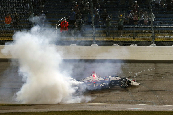 Josef Newgarden, Team Penske Chevrolet makes the donuts
