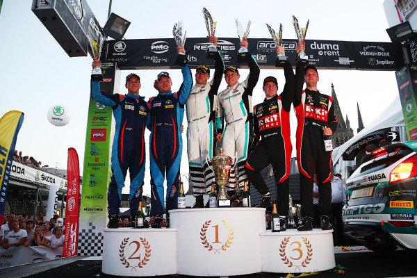 Overall Podium (l-r) Tom Cave / Dale Bowen Hyundai i20 R5, Matt Edwards / Patrick Walsh Ford Fiesta R5, Alex Laffey / Stuart Loudon Ford Fiesta R5