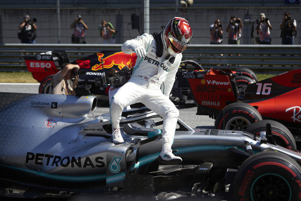 Lewis Hamilton, Mercedes AMG F1 W10, arrives on the grid after Qualifying on the front row