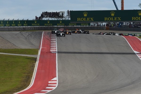 Lewis Hamilton (GBR) Mercedes-Benz F1 W07 Hybrid leads at the start of the race at Formula One World Championship, Rd18, United States Grand Prix, Race, Circuit of the Americas, Austin, Texas, USA, Sunday 23 October 2016.