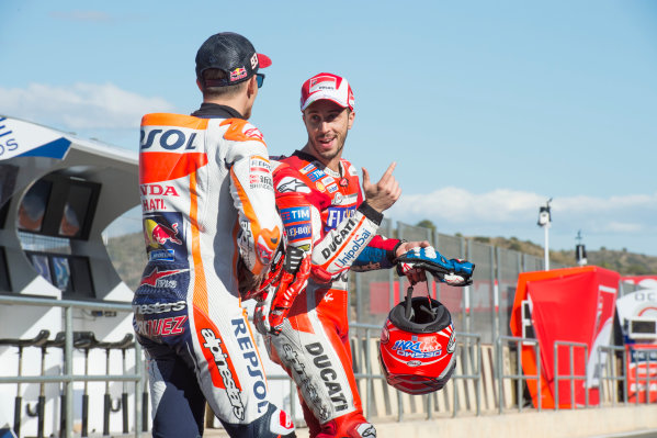 2017 MotoGP Championship - Round 18 Valencia, Spain  Thursday 9 November 2017 Marc Marquez, Repsol Honda Team, Andrea Dovizioso, Ducati Team  World Copyright: Alexander Trienitz/LAT Images ref: Digital Image 704388