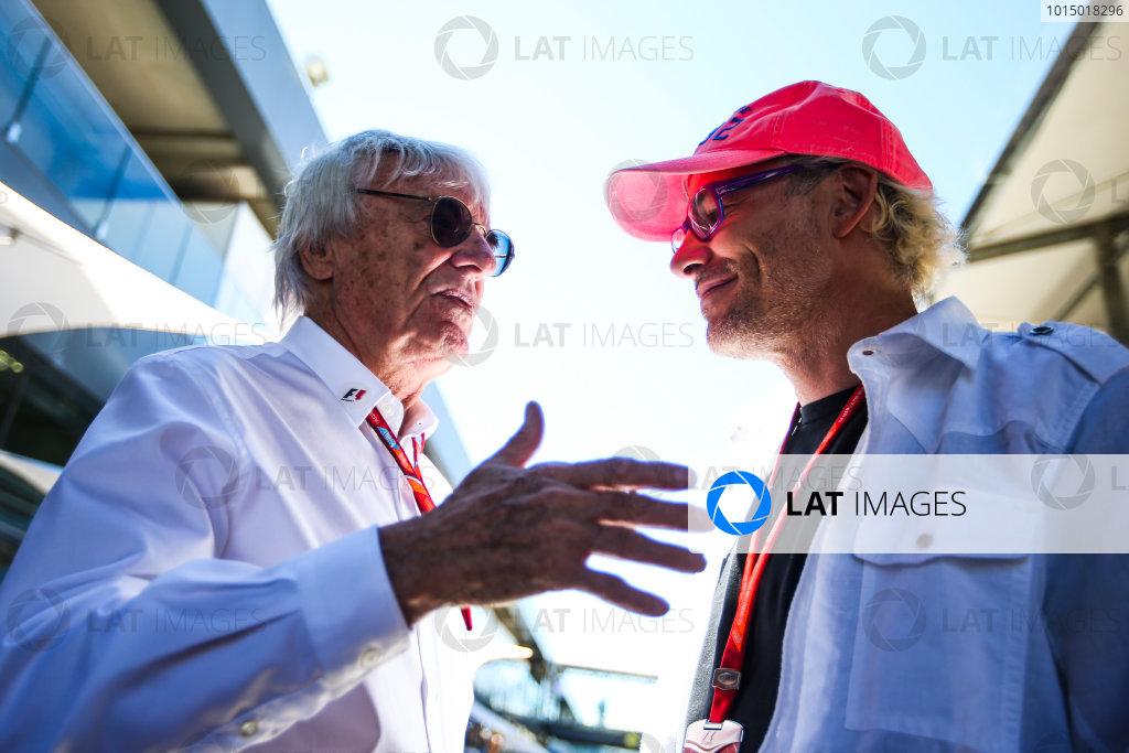 Interlagos, Sao Paulo, Brazil. Sunday 12 November 2017. Bernie Ecclestone, Chairman Emiritus of Formula 1, with former champion Jacques Villeneuve. World Copyright: Charles Coates/LAT Images  ref: Digital Image AN7T4029