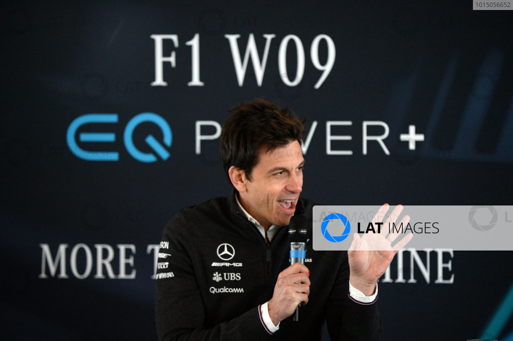 Mercedes-AMG F1 W09 EQ Power+ Launch and First Run Silverstone, England, 22 February 2018. Toto Wolff (AUT) Mercedes AMG F1 Director of Motorsport World Copyright: Simon Galloway/Sutton Images/LAT Images Photo ref: SUT_Mercedes_AMG_F_1567631
