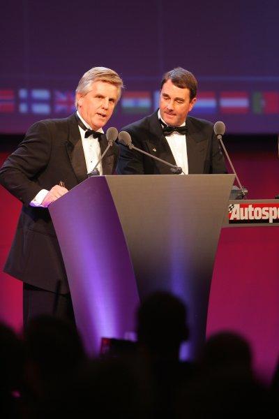 2005 Autosport AwardsGrosvenor House, London. 4th December.Steve Rider and Nigel Mansell. Portrait.World Copyright: Glenn Dunbar/LAT Photographicref: Digital Image Only