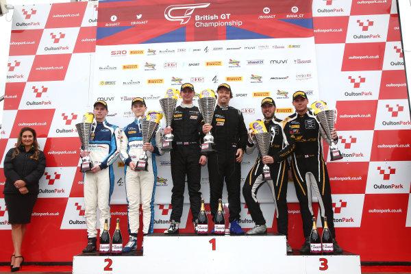 2017 British GT Championship, Oulton Park, 15th-17th April, 2017, GT4 Race 1 podium, Adam Balon / Adam Mackay - track-club - McLaren 570S GT4 wins World copyright. JEP/LAT Images