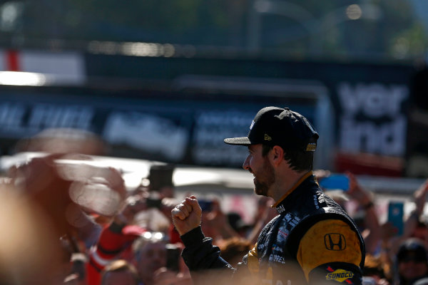 2017 Verizon IndyCar Series Toyota Grand Prix of Long Beach Streets of Long Beach, CA USA Sunday 9 April 2017 James Hinchcliffe celebrates on the podium World Copyright: Phillip Abbott/LAT Images ref: Digital Image lat_abbott_lbgp_0417_15105