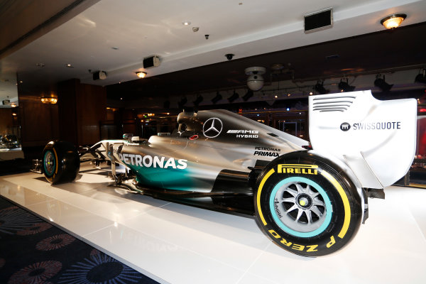 2014 Autosport Awards. Grosvenor House Hotel, Park Lane, London. Sunday 7 December 2014. Mercedes Benz F1 W05 Hybrid. World Copyright: Sam Bloxham/LAT Photographic. ref: Digital Image _14P3423