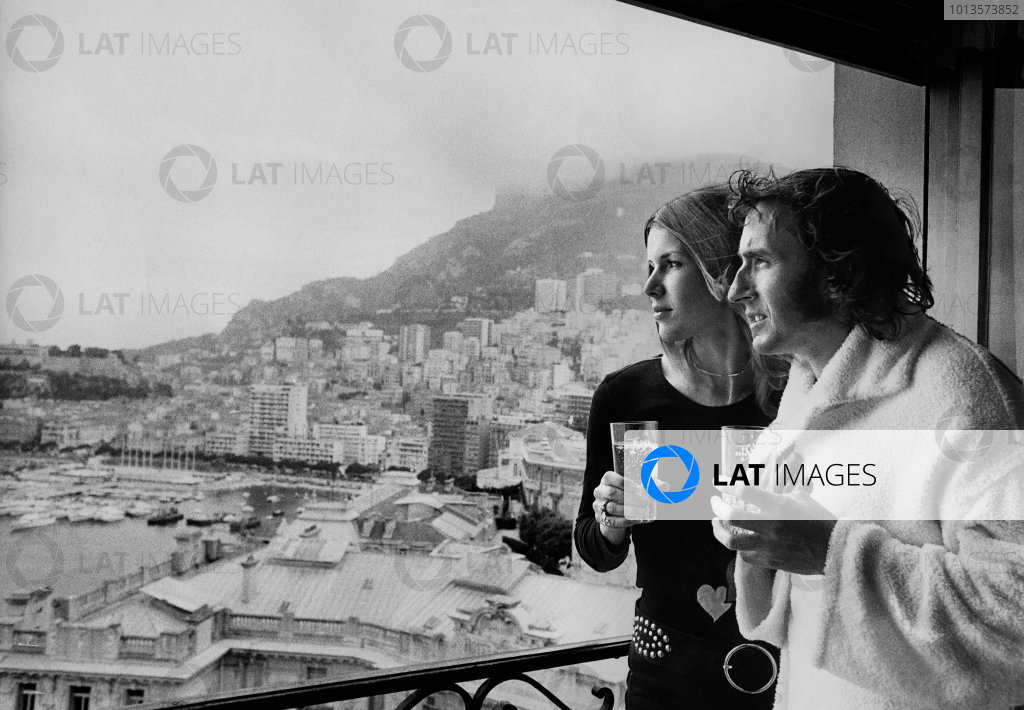 Monte Carlo, Monaco. 20 - 23 May 1971.Jackie Stewart (Tyrrell 003-Cosworth), 1st position, celebrates with his wife Helen, on the balcony of their room in the Hotel de Paris after his win, portrait. World Copyright: David Hudson/LAT Photographic.Ref:  DH - 71MON - Print.
