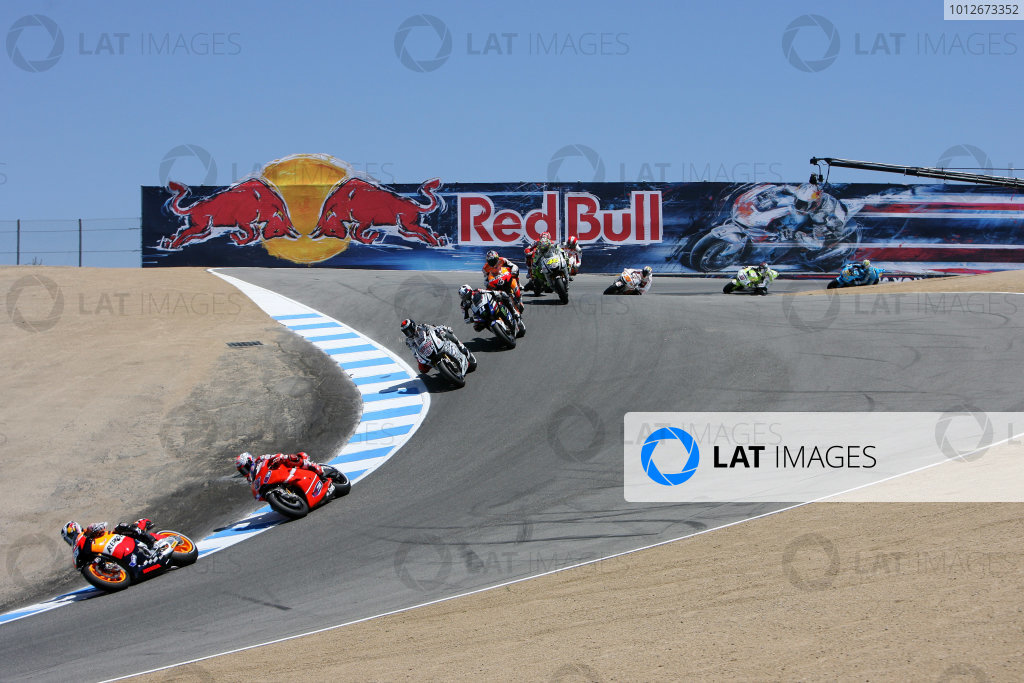 USA Laguna Seca 23-25 July 2010Pedrosa leads the first lap of MotoGP at the Corkscrew