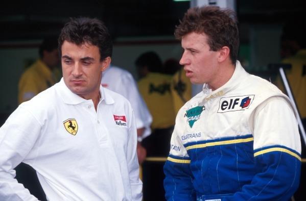 Race winner Olivier Panis (FRA) DAMS (right) talks with Ferrari Formula One driver Jean Alesi (FRA).International Formula 3000 Championship, Hockenheim, Germany, 24 July 1993.