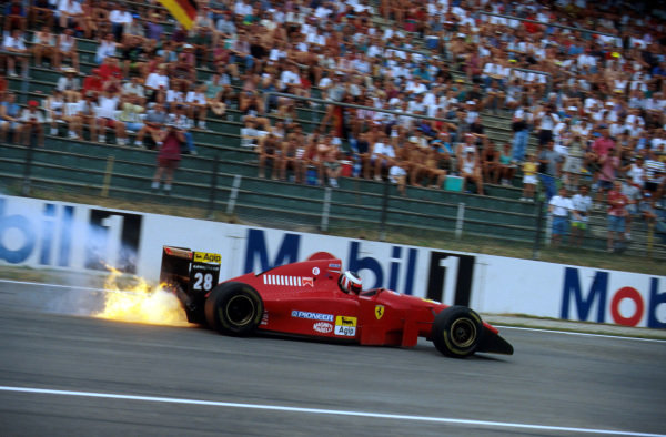 Gerhard Berger (AUT) Ferrari 412T2, suffers a blown engine during practice. German GP, Hockenheim, 30 July 1995