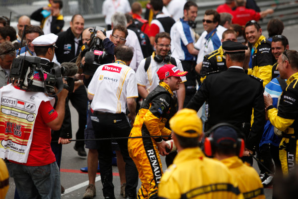 Monte Carlo, Monaco. 15th May 2010. Saturday Race.Jerome D'Ambrosio (BEL, Dams) celebrates his victory. Photo: Andrew Ferraro/GP2 Media Service.Ref: _MG_5508 jpg