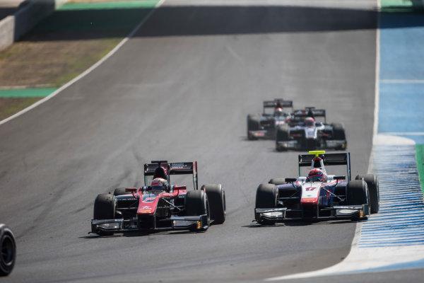 2017 FIA Formula 2 Round 10. Circuito de Jerez, Jerez, Spain. Sunday 8 October 2017. Nobuharu Matsushita (JPN, ART Grand Prix) and Santino Ferrucci (USA, Trident).  Photo: Andrew Ferraro/FIA Formula 2. ref: Digital Image _FER3405