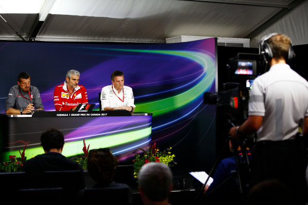 Circuit Gilles Villeneuve, Montreal, Canada. Friday 09 June 2017. The Friday press conference. L-R: Guenther Steiner, Team Principal, Haas F1, Maurizio Arrivabene, Team Principal, Ferrari, and James Allison, Technical Director, Mercedes AMG.  World Copyright: Andy Hone/LAT Images ref: Digital Image _ONY3739