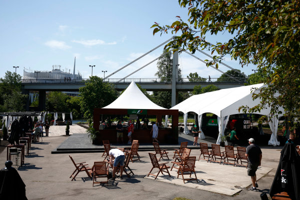 Circuit Gilles Villeneuve, Montreal, Canada. Sunday 11 June 2017. A bar in the F1 fan village. World Copyright: Andy Hone/LAT Images ref: Digital Image _ONZ4721