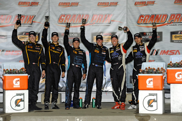 6-7 June, 2014, Kansas City, Kansas USA GS podium: 2nd: 32, Mustang, Boss 302 R, GS, Kurt Rezzetano, Andrew Aquilante,  1st: 07, Aston Martin, Vantage, GS, James Davidson, Kris Wilson and 3rd: 7, Porsche, 997, GS, Albert Carter, Brett Sandberg ?2014, F. Peirce Williams LAT Photo USA