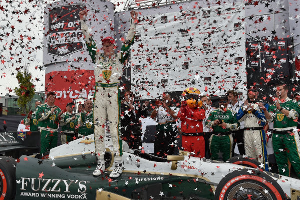 20 July, 2014, Toronto, Ontario CA Mike Conway celebrates the win in victory lane ?2014, Scott R LePage  LAT Photo USA