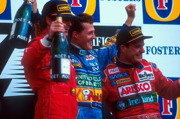 Tanaka International, Aida, Japan.15-17 April 1994.Michael Schumacher (Benetton Ford) 1st position, Gerhard Berger (Ferrari) 2nd position and Rubens barrichello (Jordan Hart) 3rd position on the podium.Ref-94 PAC 13.World Copyright - LAT Photographic
