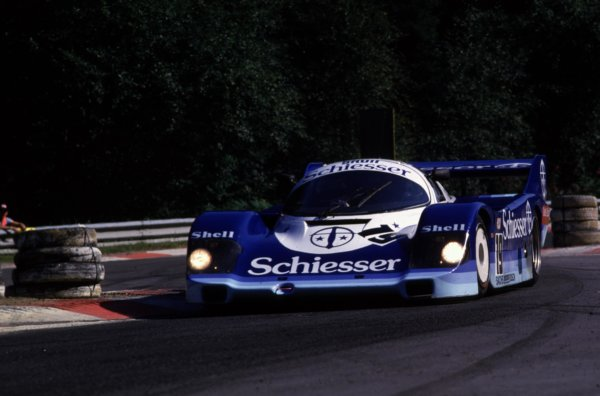 Spa-Francorchamps, Belgium. 1st September 1985. Rd 7.Stefan Bellof/Thierry Boutsen (Porsche 956), retired due to a fatal accident to Stefan Bellof, action. World Copyright: LAT Photographic.Ref:  85SPA02