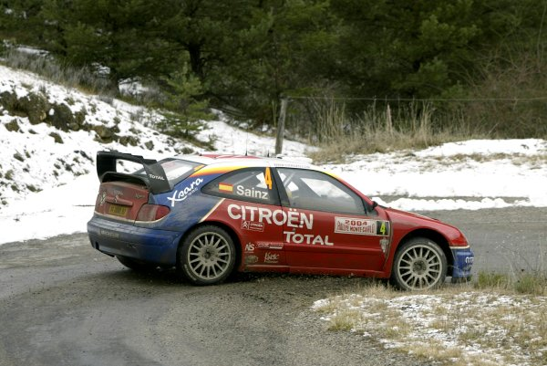 2004 FIA World Rally ChampionshipMonte Carlo Rally, Monte Carlo, 23rd - 25th January.Carlos Sainz / Marc Marti (Citroen Xsara WRC). Sainz retired from the rally on SS9. Action.World Copyright: McKlein/LATref: Digital Image Only