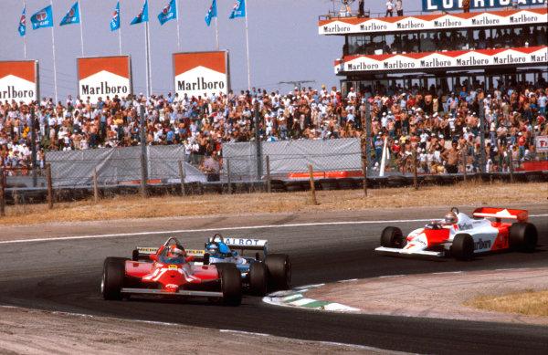 1981 Spanish Grand Prix.Jarama, Madrid, Spain.28-31 May 1981.Gilles Villeneuve (Ferrari 126CK) followed by Jacques Laffite (Talbot Ligier JS17 Matra) and John Watson (McLaren MP4/1 Ford). Ref-81 ESP 13.World Copyright - LAT Photographic