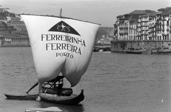 A sail boat carrying Ferreira port wine along the Douro river.