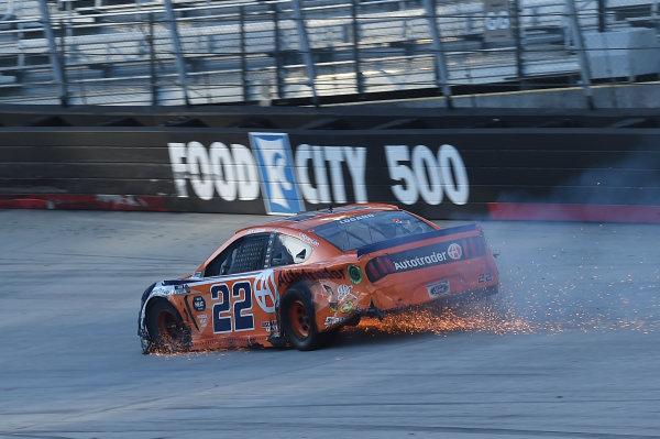Joey Logano, Team Penske Ford Autotrader,  sparks fly after an incident, Copyright: Jared C. Tilton/Getty Images.
