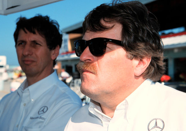 1999 CART MIAMI GP, 21-3-99, Homestead, FL, USANorbert Haug and Mario Ilien keep an close watch on the performance for the Mercedes CART engines.-1999, Michael L. Levitt, USA 248-399-3371LAT PHOTOGRAPHIC
