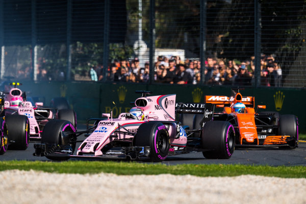 Sergio Perez (MEX) Force India VJM10 at Formula One World Championship, Rd1, Australian Grand Prix, Race, Albert Park, Melbourne, Australia, Sunday 26 March 2017.