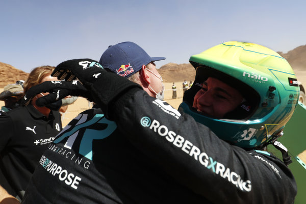 Johan Kristoffersson (SWE), Rosberg X Racing, and Molly Taylor (AUS), Rosberg X Racing, celebrate in Parc Ferme