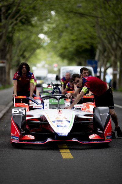 Car of Jérôme d'Ambrosio (BEL), Mahindra Racing, M5 Electro is pushed through the pit lane