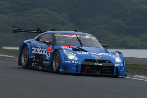 2015 Japanese Super GT Series. Fuji, Japan. 8th - 9th August 2015. Rd 4. GT500 3rd position Hironobu Yasuda & J.P.L.De Oliveira ( #12 CALSONIC IMPUL GT-R ) action.  World Copyright: Yasushi IshiharaLAT Photographic. Ref: 2015SGT_Rd4_010