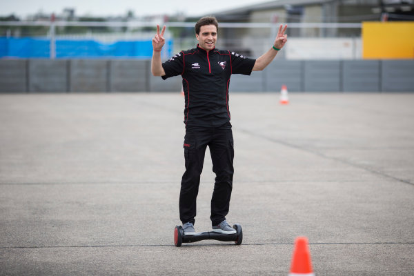 2014/2015 FIA Formula E Championship. Berlin ePrix, Berlin Tempelhof Airport, Germany. Thursday 21 May 2015 Jerome D'Ambrosio (BEL)/Dragon Racing - Spark-Renault SRT_01E on a hovertrax. Photo: Andrew Ferraro/LAT/Formula E ref: Digital Image _FER0942