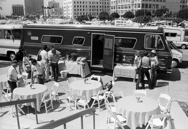 The Lotus motorhome and hospitality area in the paddock. United States Grand Prix (West), Rd4, Long Beach, USA, 30 March 1980.