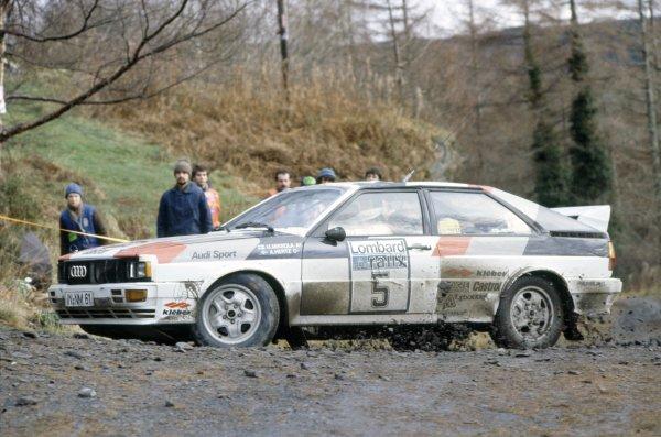 1981 World Rally Championship.Lombard RAC Rally, Great Britain. 22-25 November 1981.Hannu Mikkola/Arne Hertz (Audi Quattro), 1st position.World Copyright: LAT PhotographicRef: 35mm transparency 81RALLY07