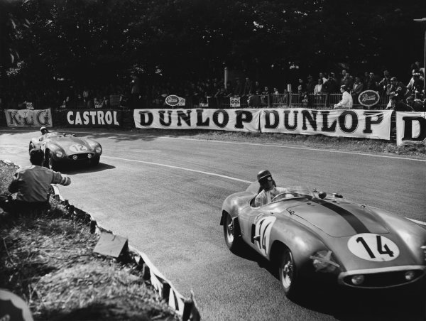 Le Mans, France. 11th - 12th June 1955 Mike Sparken/Masten Gregory (Ferrari 750 Monza), retired, leads Helde/Jean Lucas (Ferrari 750 Monza), retired, action. World Copyright: LAT Photographic Ref: B/W Print.