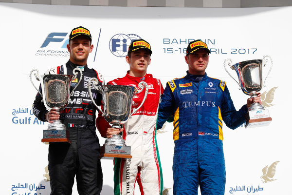 2017 FIA Formula 2 Round 1. Bahrain International Circuit, Sakhir, Bahrain.  Sunday 16 April 2017. Charles Leclerc (MCO, PREMA Racing) Luca Ghiotto (ITA, RUSSIAN TIME) and Oliver Rowland (GBR, DAMS)  Photo: Zak Mauger/FIA Formula 2. ref: Digital Image _J6I1797