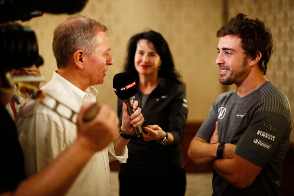 Bahrain International Circuit, Sakhir, Bahrain.  Wednesday 12 April 2017. Fernando Alonso talks to the media after announcing his deal to race in the 2017 Indianapolis 500 in an Andretti Autosport run McLaren Honda car. World Copyright: Glenn Dunbar/LAT Images ref: Digital Image _31I6980
